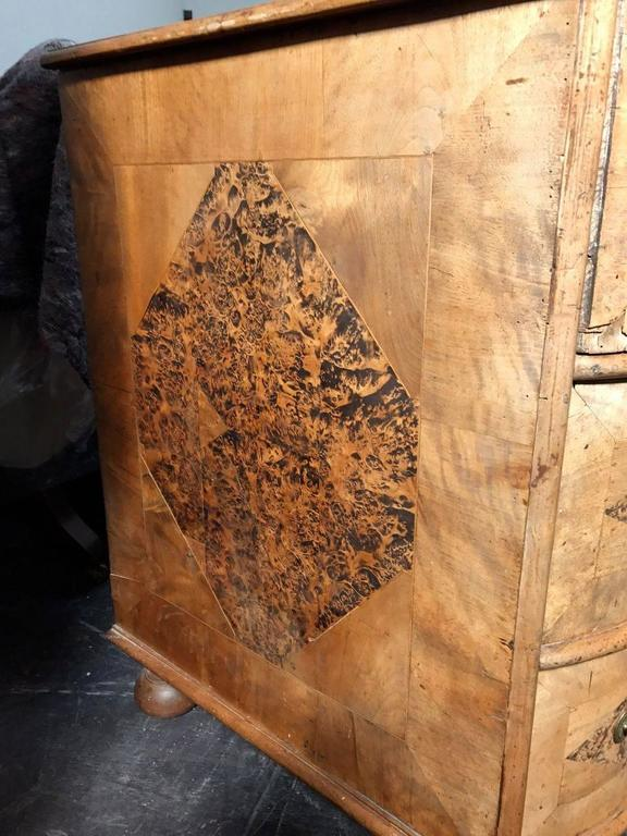 18th Century Burr Root Wood Three Drawer Commode, Bowed Front, Sweden For Sale 4