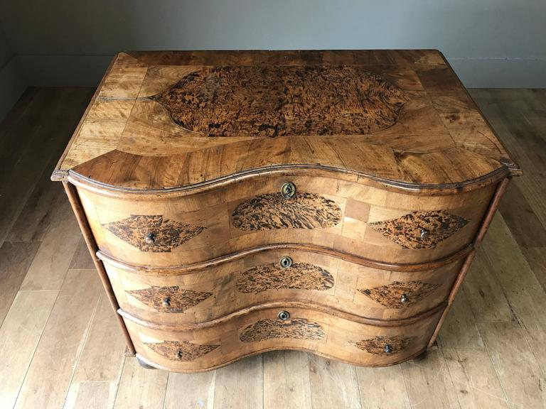 Swedish 18th Century Burr Root Wood Three Drawer Commode, Bowed Front, Sweden For Sale