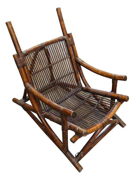 French Pair of Bamboo Side Chairs, France, 1940s For Sale