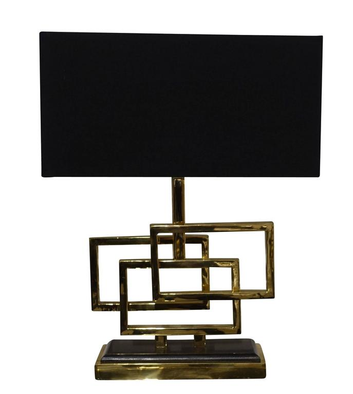 Contemporary Belgian pair of lamps with three brass overlapping boxes from decorative base. Rectangular black shades measure 16