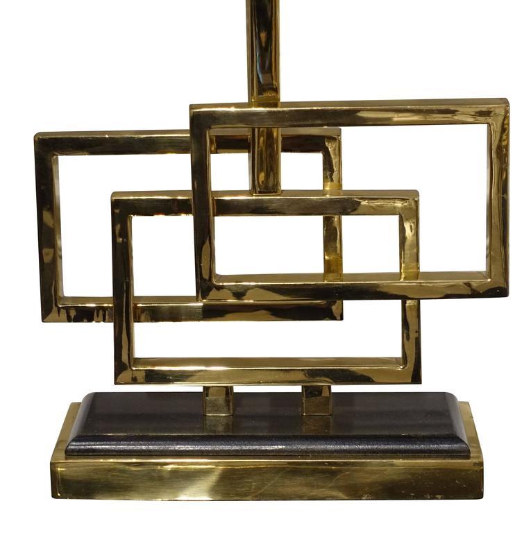 Belgian Pair of Brass Triple Box Lamps, Belgium, Contemporary For Sale