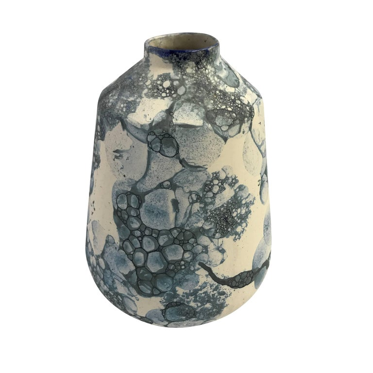Contemporary Dutch bubble design made from actual shades of blue bubbles adhered to ceramic vase.