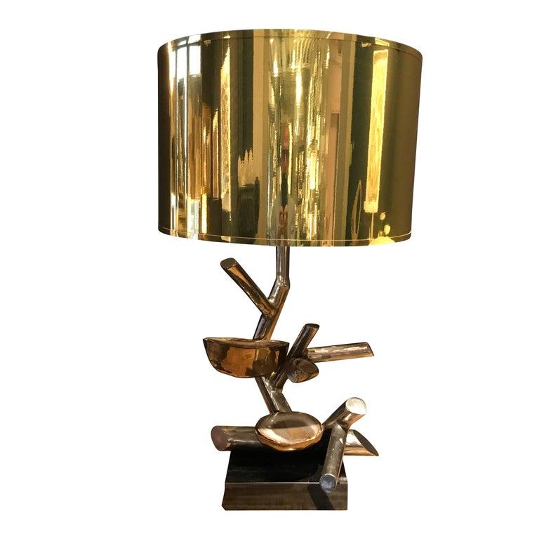 Agate Polished Nickel Single Lamp, Belgium, Contemporary