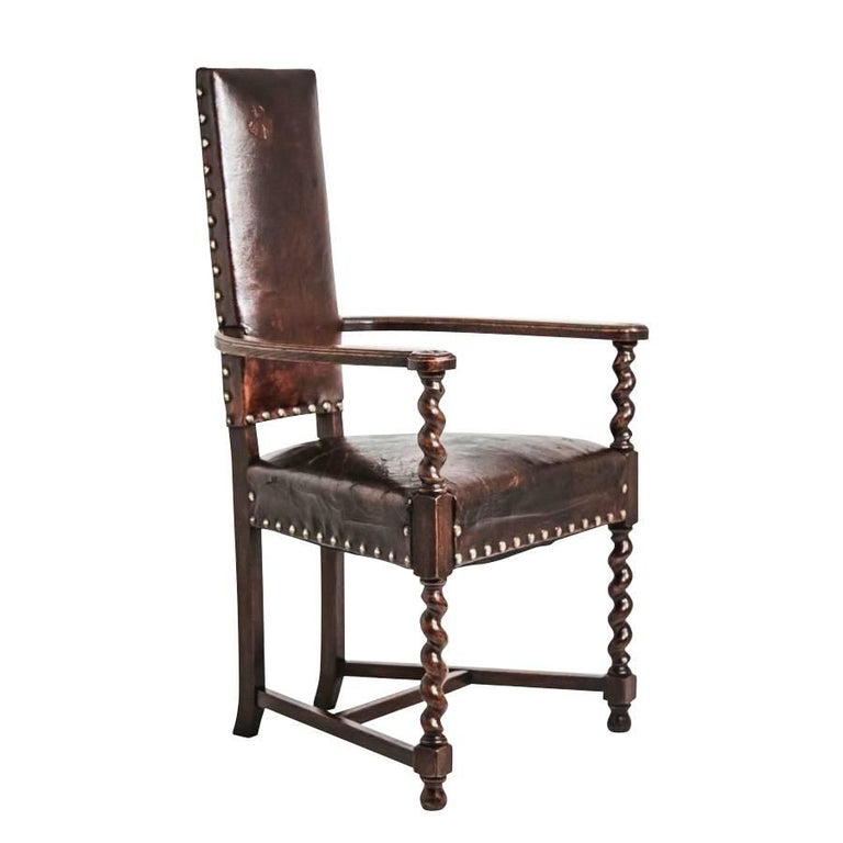 Cacqueteuse Leather Side Chair, France, circa 1860