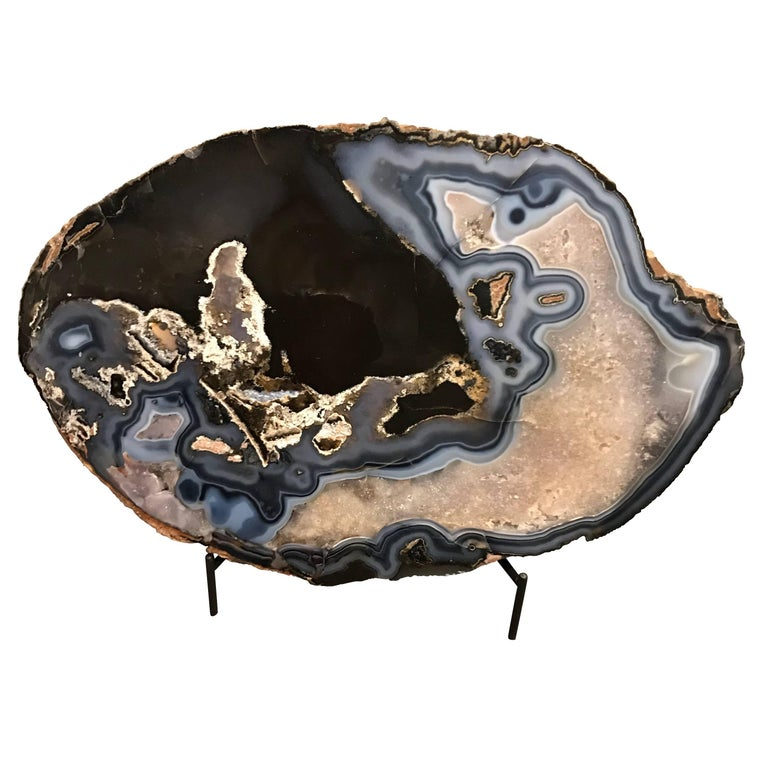Prehistoric Agate Sculpture on Stand, Brazil