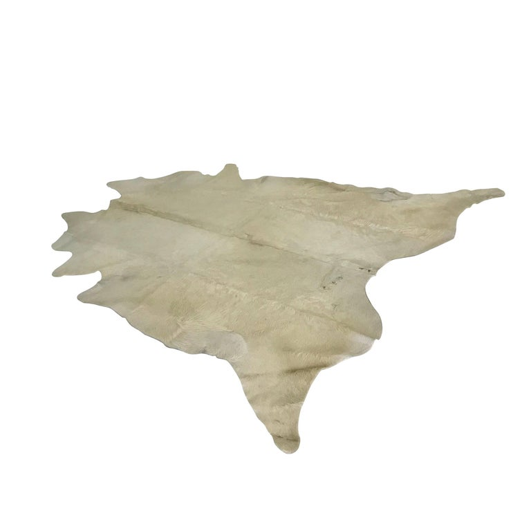 Argentinian White Patchwork Cowhide Area Rug, Contemporary