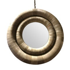Sliced Paper Framed Round Mirror, Contemporary
