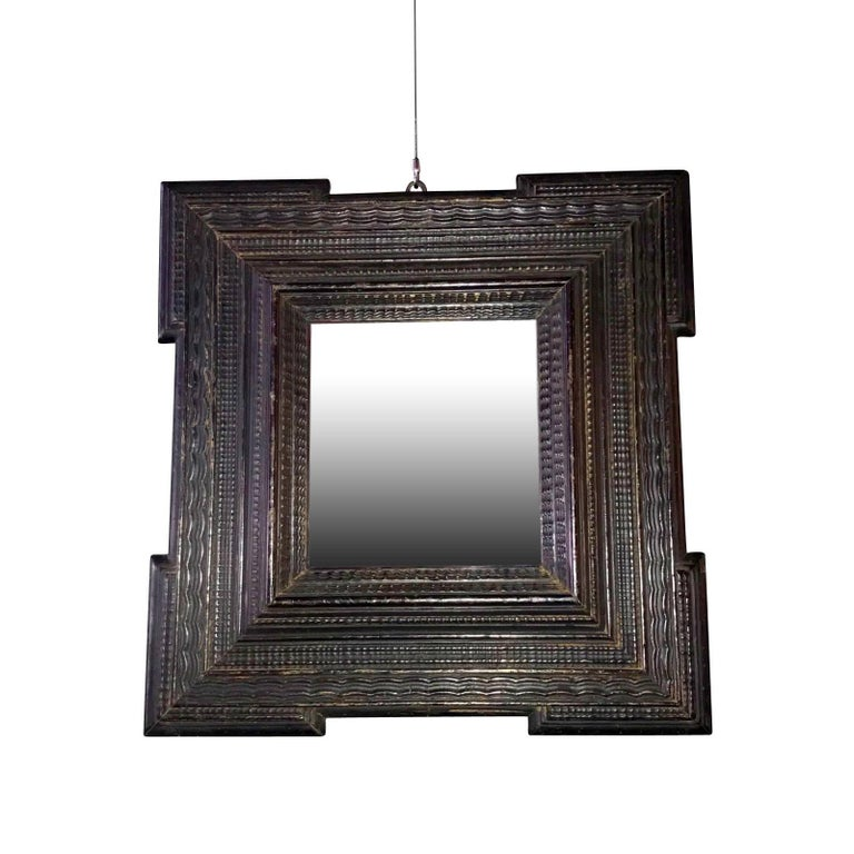 18th Century Ebonized Carved Square Mirror, Netherlands