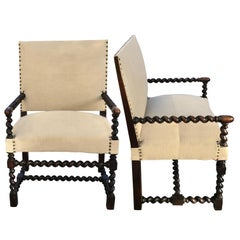 Pair of Spool Arms and Legs Side Chairs, France, 19th Century