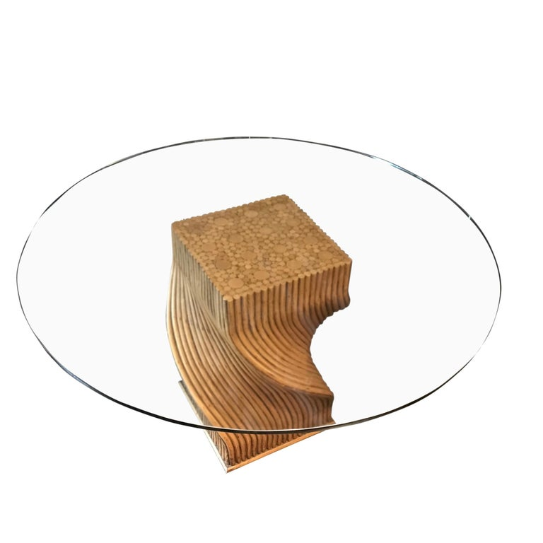 Midcentury French unusual spiral shaped bamboo dining table base. Measures: Glass top diameter 52
