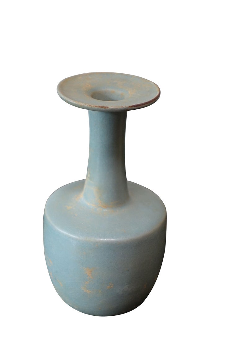 Contemporary Chinese collection of varying styles matte finish pale turquoise vases.