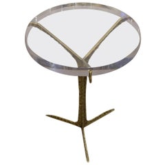 Acrylic Top Cocktail Table with Hammered Brass Base, Portugal, Contemporary
