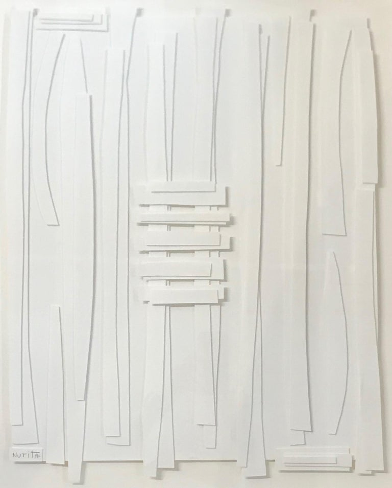 """American artist Nurit Amdur white on white paper cuts collage. White wood frame. The artist Nurit Amdur creates paper cuts and collages revolving around the journey of transition and turning something into """"something else"""", the simple into complex"""