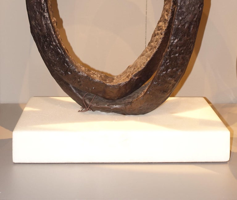 Indonesian Double Ring Iron Sculpture, Indonesia, Contemporary For Sale