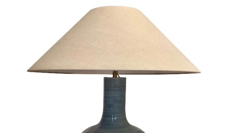 Chinese Pair of Large Blue Lamps, China, Contemporary