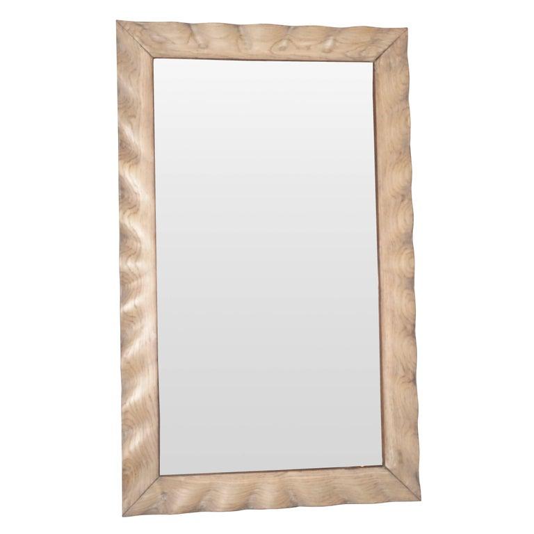Oak Wavy Wide Frame Mirror, France, 1940s For Sale