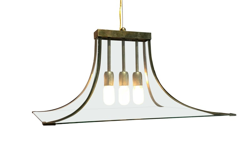 Curved Glass and Brass Chandelier, Italy, 1940s In Good Condition For Sale In New York, NY