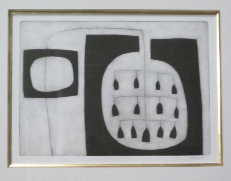 Black and white etching by contemporary English artist Oliver Gaiger. Hanging huts. Matted in a black with gold wooden frame. A collection of six etchings by this artist are available and sold individually.