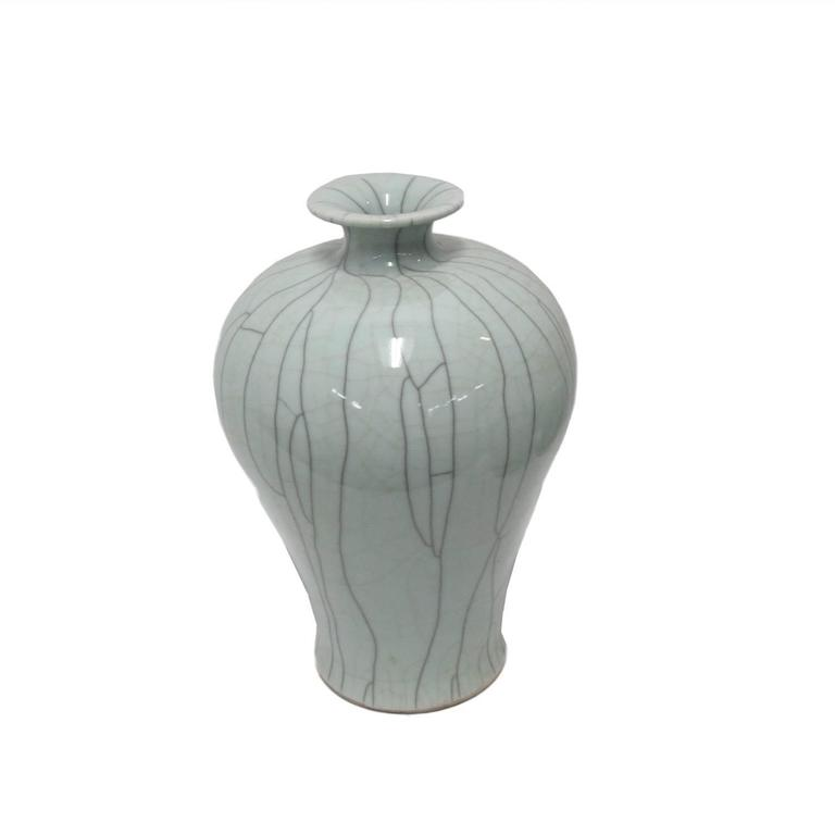 Glazed Collection of Pale Blue Crackle Vases, China, Contemporary For Sale
