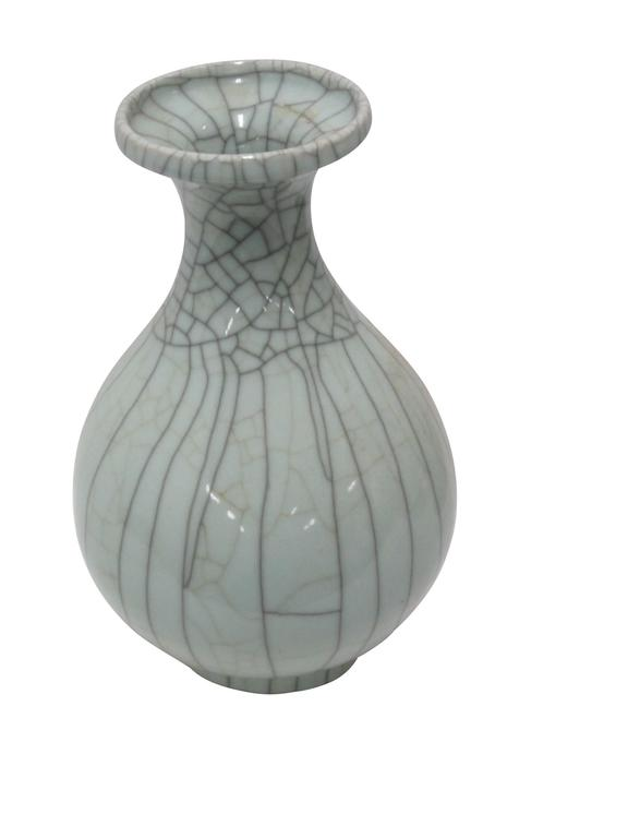 Ceramic Collection of Pale Blue Crackle Vases, China, Contemporary For Sale