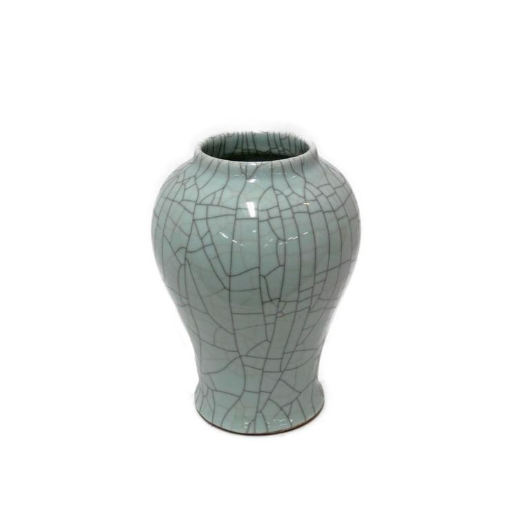 Collection of Pale Blue Crackle Vases, China, Contemporary In Excellent Condition For Sale In New York, NY