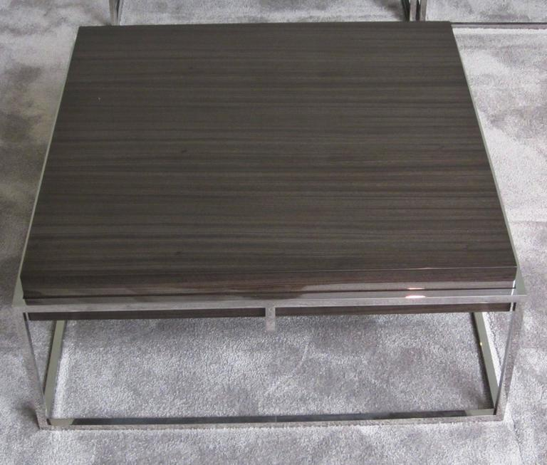 Square Polished Stainless Base, Wood Top Coffee Table, Belgium, Contemporary 3