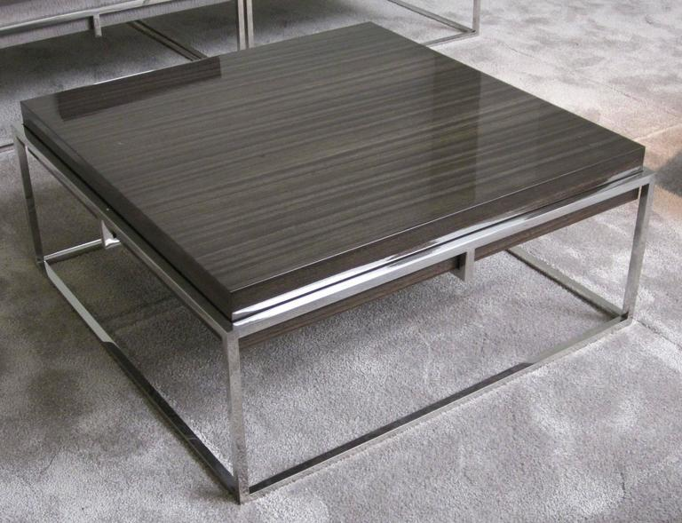 Square Polished Stainless Base, Wood Top Coffee Table, Belgium, Contemporary 4