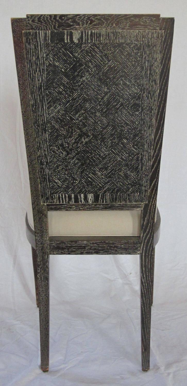 Mid century set of eight cerused oak upholstered dining for Upholstered dining chairs for sale