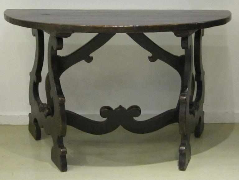 18th Century Pair of Demilune Refectory Tables, Italy 3