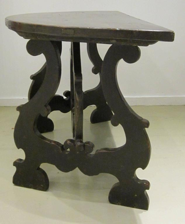 18th Century Pair of Demilune Refectory Tables, Italy 8