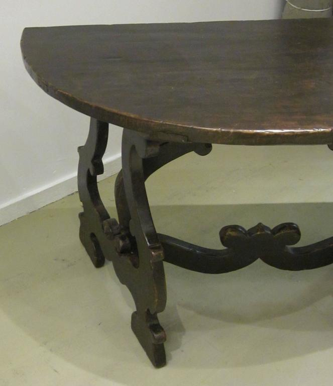 18th Century Pair of Demilune Refectory Tables, Italy 10