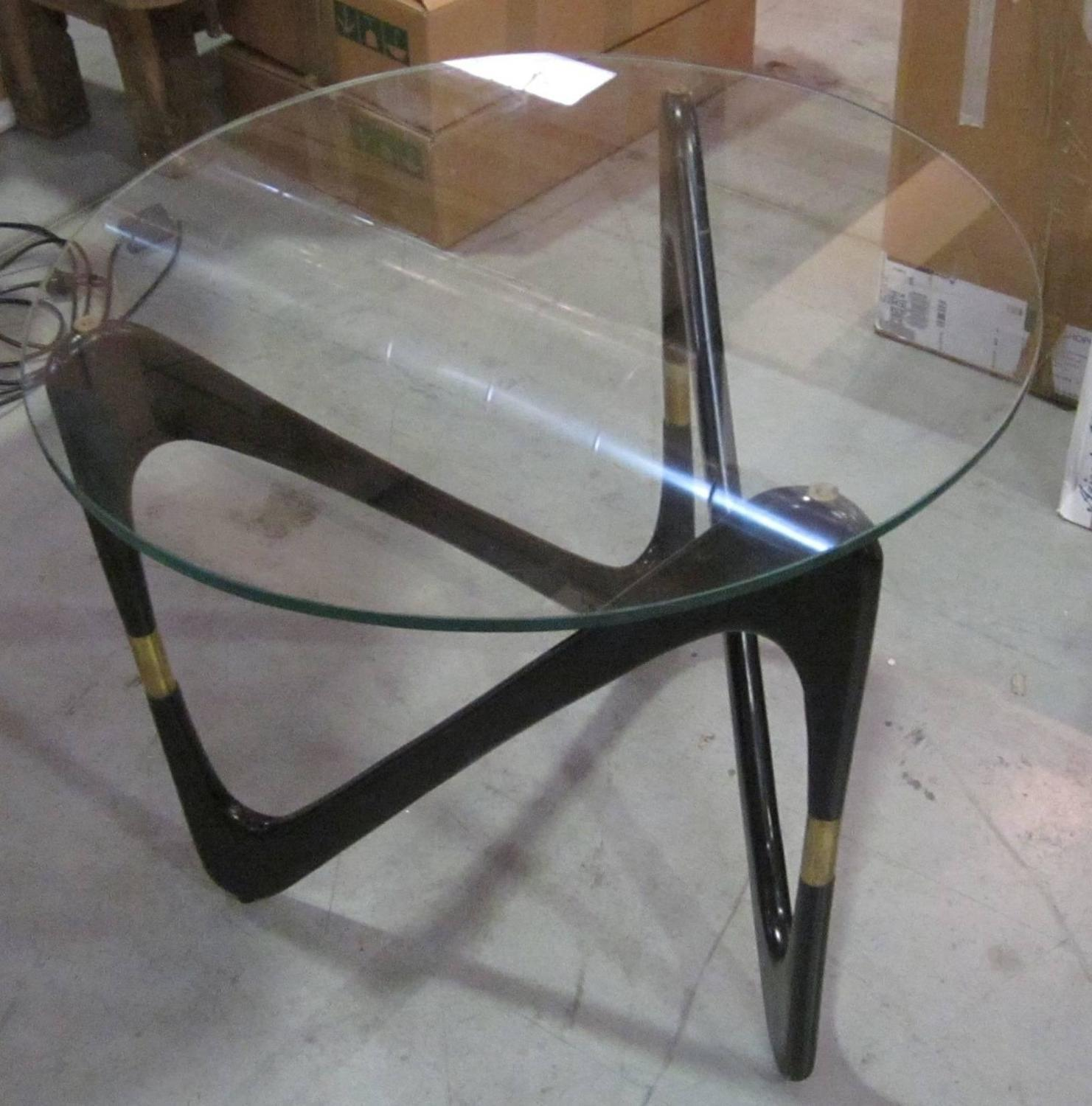 Ebony curved base round glass top coffee table italy mid century at