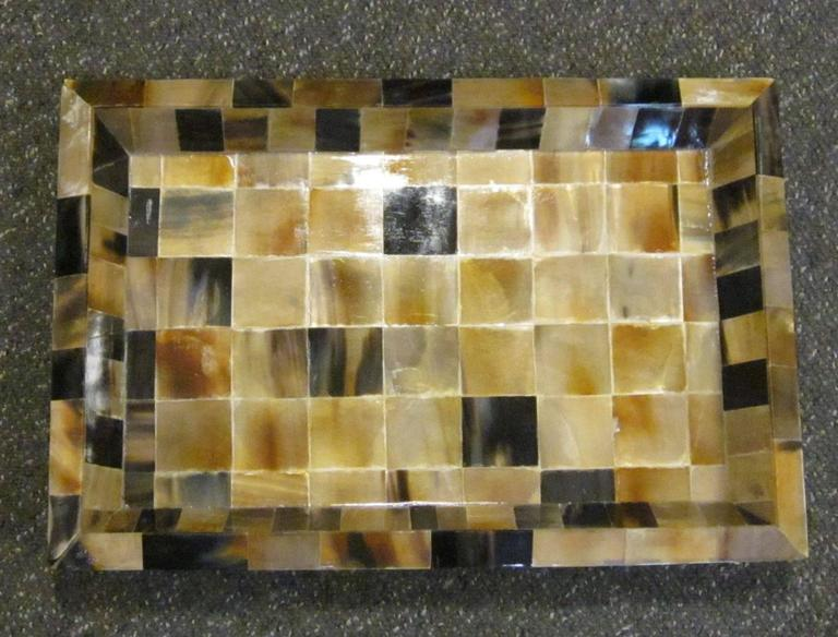 Indian contemporary square pattern rectangular tray.