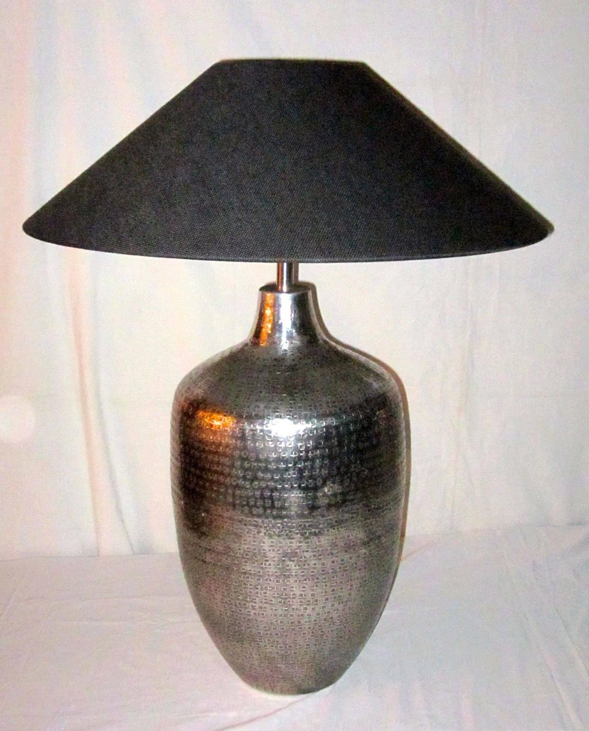 pair of table lamps silver hammered metal bases india contemporary. Black Bedroom Furniture Sets. Home Design Ideas