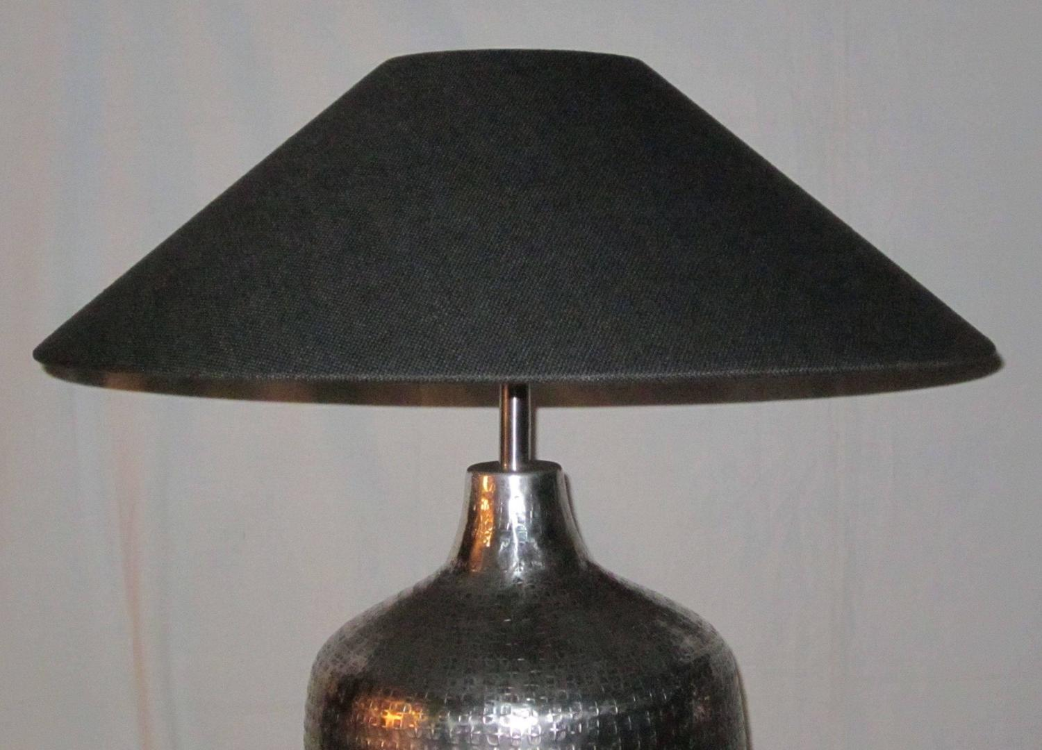 Pair of table lamps silver hammered metal bases india contemporary