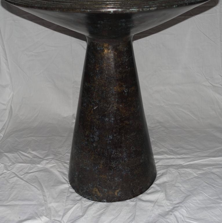 Cambodian Chieftain Drum-Top Bronze Side Table, Cambodia, Contemporary For Sale