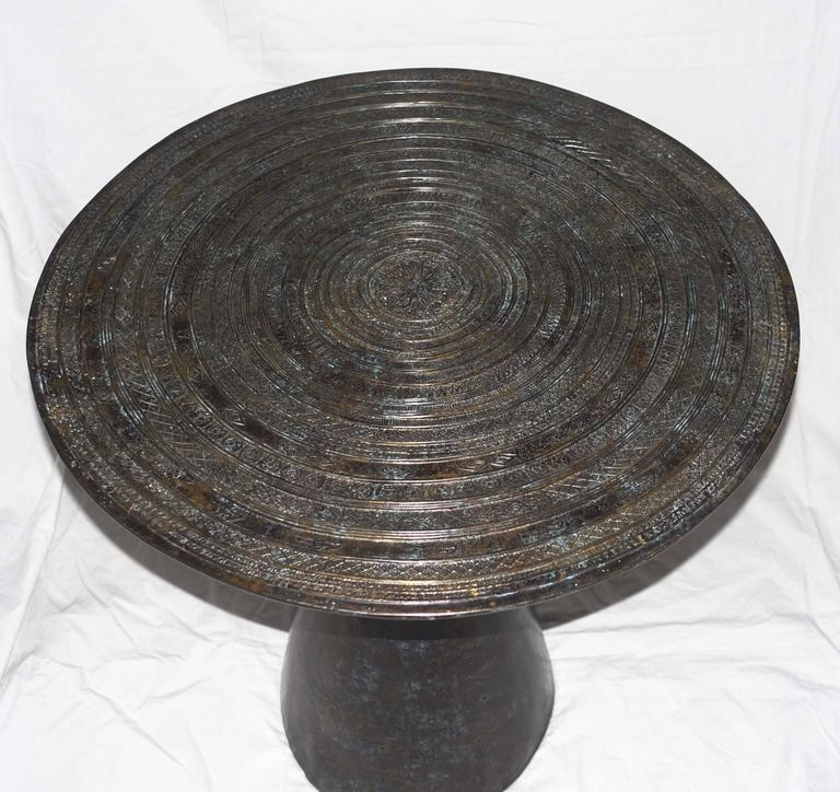 Chieftain Drum-Top Bronze Side Table, Cambodia, Contemporary In Excellent Condition For Sale In New York, NY
