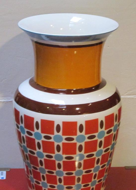 Bright Patterned Orange Turquoise Checked Vase By Frederic