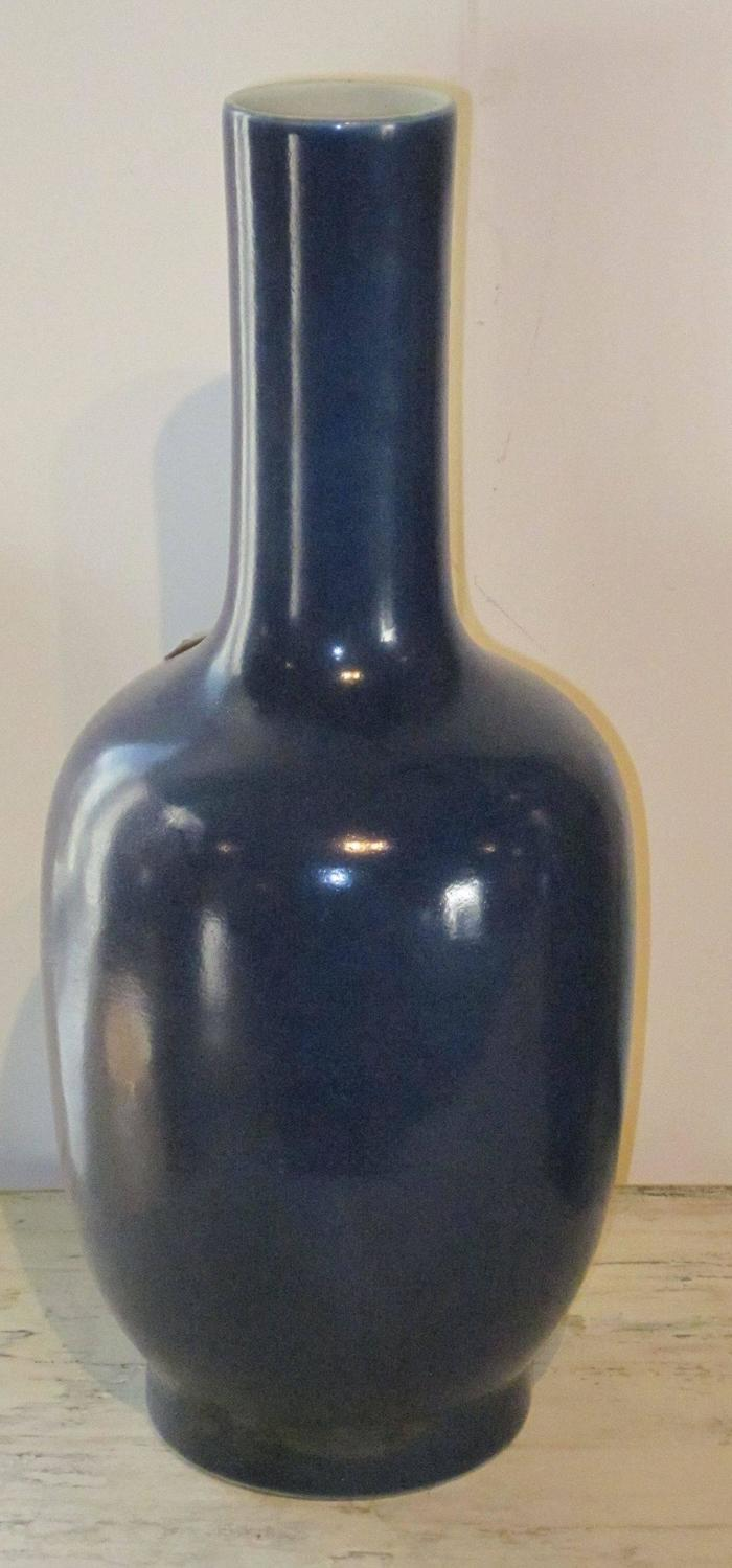 Tall Sapphire Blue Ceramic Vase China Contemporary For