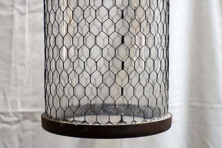 Contemporary Pair of Brushed Metal Pendant Lights with Cage, Italy In Excellent Condition For Sale In New York, NY
