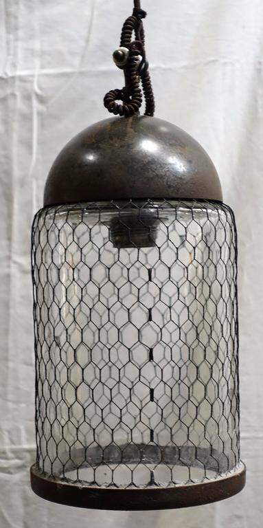 Italian Contemporary Pair of Brushed Metal Pendant Lights with Cage, Italy For Sale