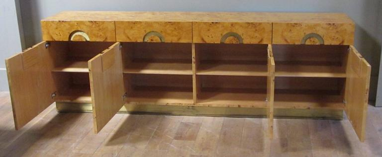 Italian circa 1970 Willy Rizzo Burl Birchwood Four-Door Credenza In Excellent Condition In New York, NY