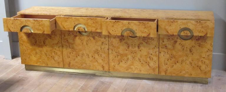 Late 20th Century Italian circa 1970 Willy Rizzo Burl Birchwood Four-Door Credenza