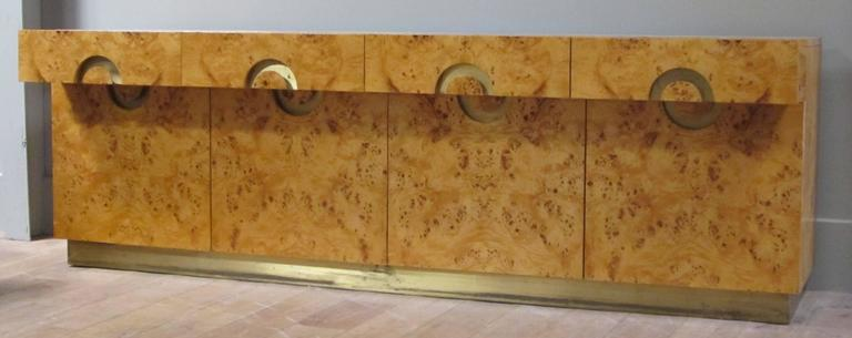 Italian circa 1970 Willy Rizzo Burl Birchwood Four-Door Credenza 1