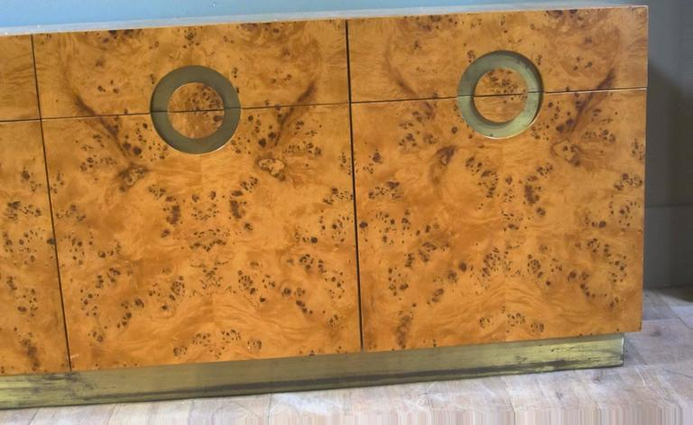 Italian circa 1970 Willy Rizzo Burl Birchwood Four-Door Credenza 3