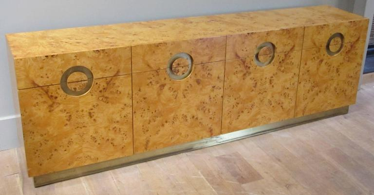 Italian circa 1970 Willy Rizzo Burl Birchwood Four-Door Credenza 4