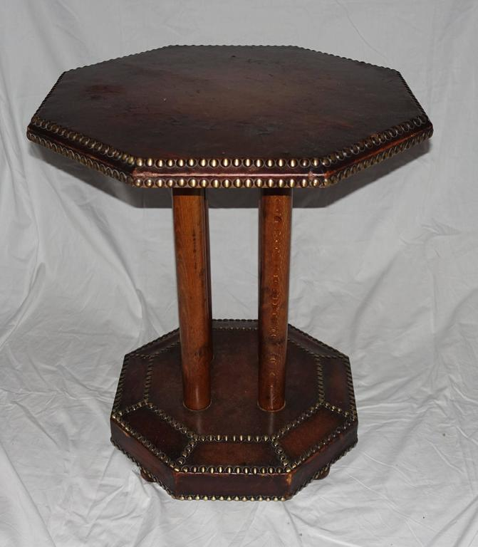 Arts and crafts hexagonal leather top and base side table for Arts and crafts side table