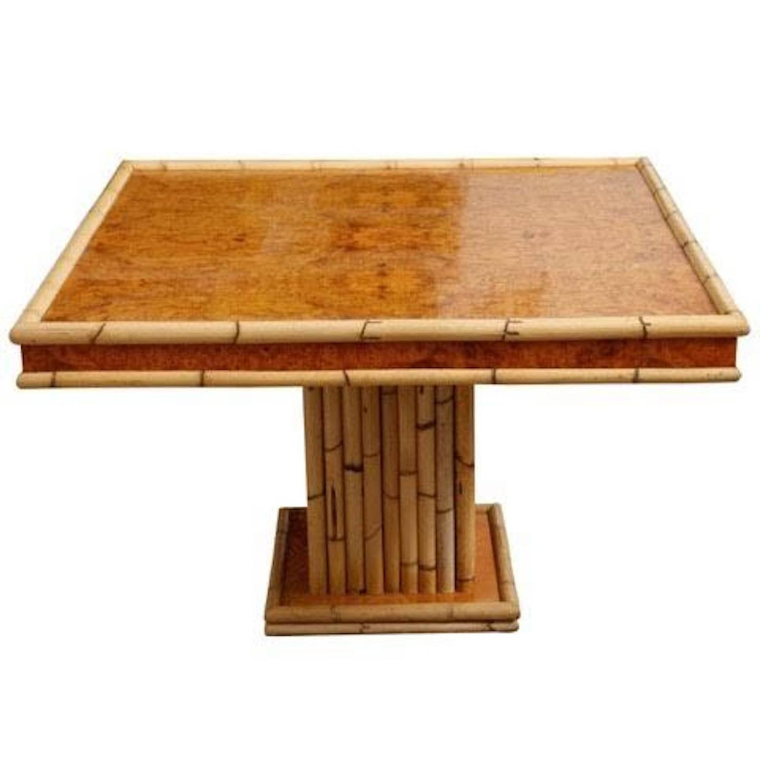 Bamboo Square Table: 1940s Square Bamboo Dining Or Card Table, France For Sale
