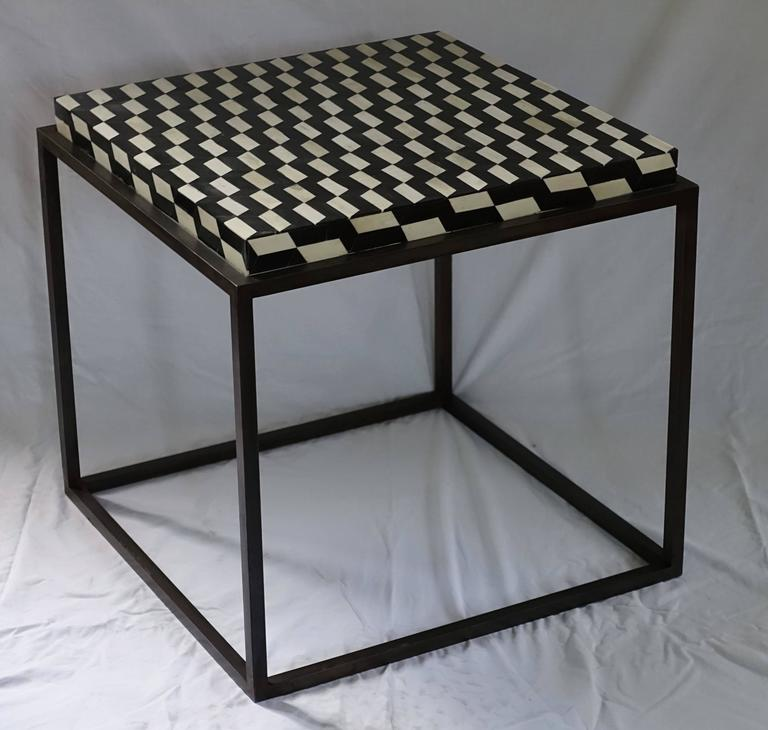 American Contemporary Faux Bone Black and White Iron Base Side Table For Sale