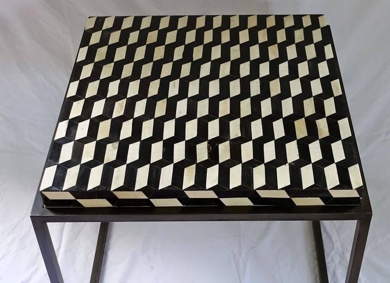 Contemporary Faux Bone Black and White Iron Base Side Table 4